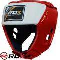 Боксерский открытый шлем для соревнований RDX Leather Red/Blue